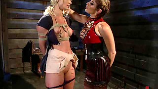 Blindfolded Blonde Getting Spanked and Abused By Lesbian Dominatrix