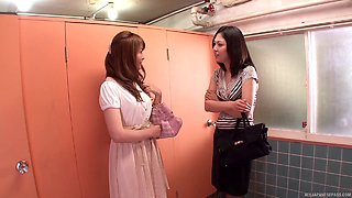 Co-working Asian babes go into the bathroom for some lesbian fun