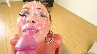 Curvy Asian covered in oil for a POV titjob and face fucking