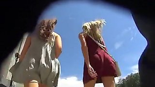 Candid camera filming two hot girls flashing nude asses no panties