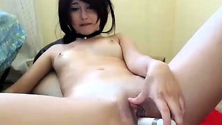 Two petite young babes masturbate together on the webcam