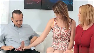 Milf Teaches Daughter Blowjob And Anal On Her Stepfather