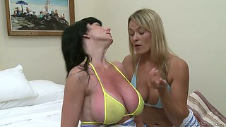 Busty nympho Karen Kougar seems to be really into eating wet pussy