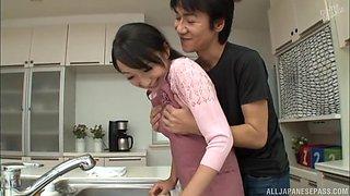Great kitchen shag with shy Japanese housewife Takita Eriko