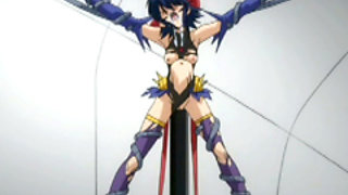 Hentai girl gets punished by taking a big pole that penetrates through her whole body