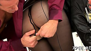 Stylish babe gets her piss soaked snatch fucked vigorously
