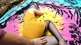 Found Sleeping Teen In Nylon Stockings In Forest And Filled Her With My Cum