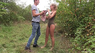 Blondie Tiffany Tatum misses her bus and gets fucked in the forest