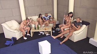 Sweet Katrin Wolf and other girls get to please more guys at once