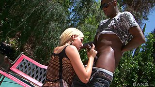 Playing by the pool with her sexy body makes Destiny Jaymes seduce a black guy