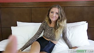 Blonde chick with pierced nipples Kendall exposes her ruined snatch