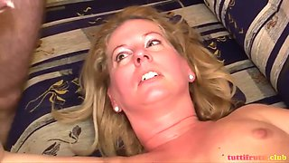 sexy blonde mom fuck with son and his friend