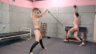 Brutal whipping by hot sadistic blonde mistress