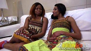 Hot African girls fuck double headed dildo