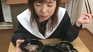 Japanese schoolgirls in sexy uniforms swallow heavy loads of semen