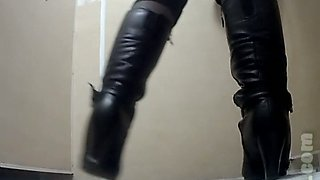 White lady in black leather boots exposed her big booty