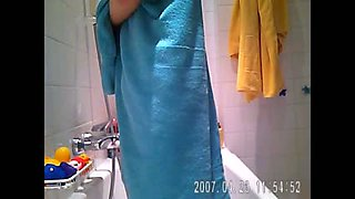 Hidden spy cam of my  sister's cute teen friend in the shower