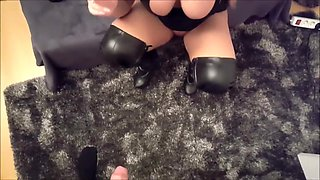 Blonde in Boots Smoking While Taking Cock
