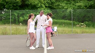Dirty Threesome On The Tennis Court.