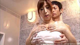 Ayana Rina enjoys being groped in a bathroom before sucking a dick
