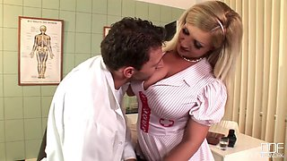 Nurse with the largest tits ever Cynthia Flowers fucking a doctor