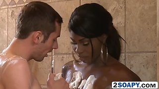 ebony and ivory soapy massage in bathroom