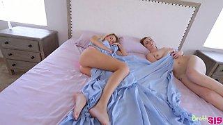 Sinful blondie Riley Star seduces handsome boyfriend of sleeping stepsister