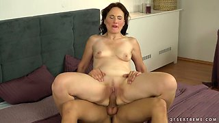 Mature woman Alice Sharp is making love with her young boyfriend