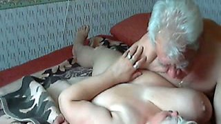 Old couple having passionate sex on webcam in their bedroom
