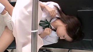 Kinki gyno doctor puts a dildo in Sarumi's virgin globes