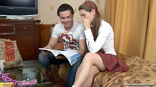 Tutor fucks his students a schoolgirl in her ass