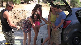Summer party with sweet brunette college chicks and hard big cocks somwhere outdoors