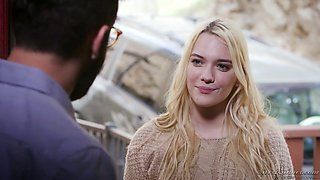 Alluring blonde in glasses Kenna James gets intimate with her new boyfriend