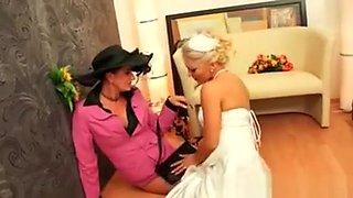Sexy Blonde Bride Goes Crazy