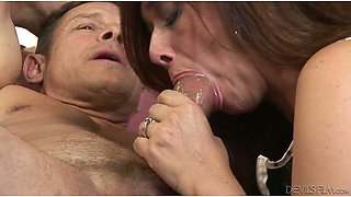 Huge dude is feeding husband and wife with his fat rod