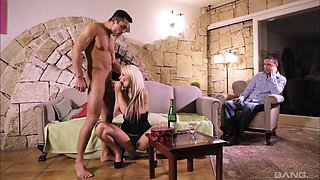 Blonde hottie Lana S has fun with a dick in front of her boyfriend