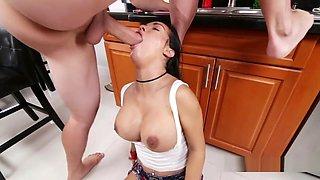 Big Cock Hunk Fucks Busty Latina Spinner In Kitchen
