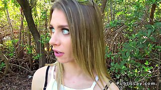 Hot blonde cheating bf in public