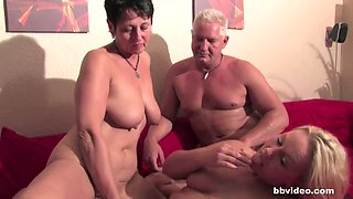 German bi mom plays with her twats in four