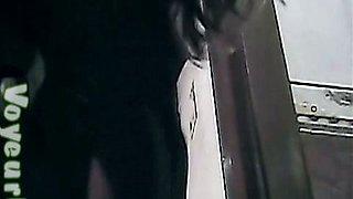 Thick white booty of a stranger brunette girl in the toilet room