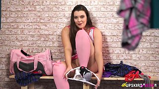 Sexy cheerleader Cherry Blush spreads legs wide open and shows off her pussy