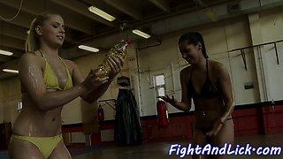 Lesbian beauties wrestling and scissoring