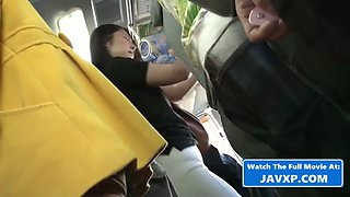 Asian babe fucked on the crowded bus