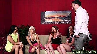 Cfnm mistress enjoys oral