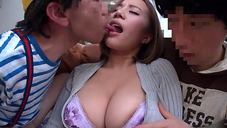 Asian Japanese busty MILF extorted by 2 bad boys