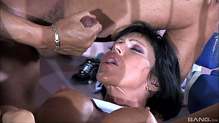 Sporty bombshell Valentine Demi pounded and cum sprayed by two guys