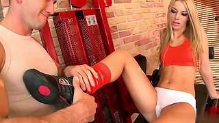 Hot Debbie White has sex in the gym