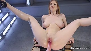 Natural huge tits blonde anal machine