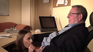 Secretary caught coworker sucking old boss under desk