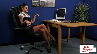 Office sub spanked by femdom before JOI